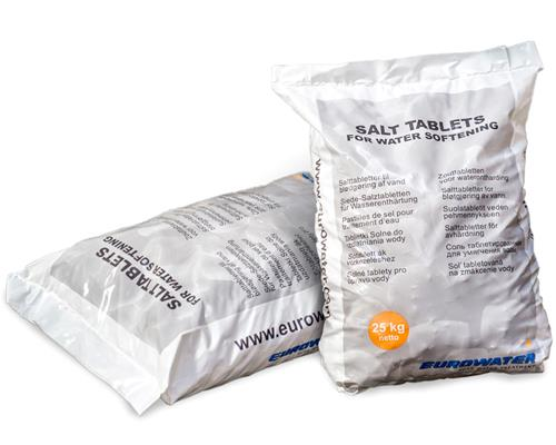 Salt tablets for water softening in 25 kg. bag
