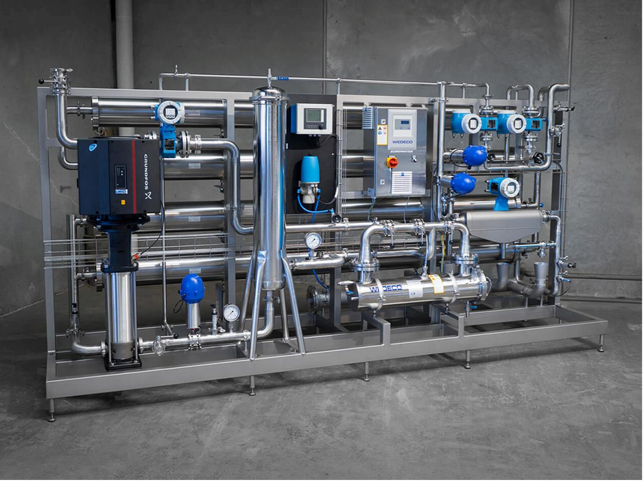 Reverse osmosis in stainless steel for a hygienic design
